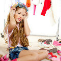 Fashion victim kid girl wardrobe messy backstage Royalty Free Stock Images