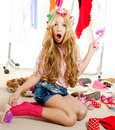 Fashion victim kid girl wardrobe messy backstage Royalty Free Stock Image
