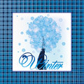 Fashion winter tree holiday card vector Stock Photography