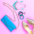 Fashion woman accessories set. Trendy fashion shoes heels, stylish handbag clutch, necklace, bracelet and ring. Royalty Free Stock Photo