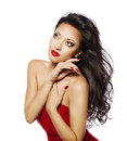 Fashion Woman Black Hair, Model Girl Face Makeup Portrait, Red Royalty Free Stock Photo