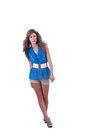 Fashion woman in blue c-thru blouse ,bra and shorts Royalty Free Stock Photo