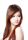 Fashion woman with brown hair in wind style beautiful long isolated on white background asian beauty Stock Images