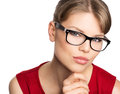 Fashion woman in eyeglasses close up portrait of beautiful stylish Stock Photo