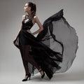 Fashion Woman In Fluttering Bl...