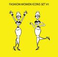 Fashion woman icon doodles tattoo girls part fashionable lady funny woman happy Stock Photo