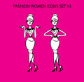 Fashion woman icon doodles tattoo girls part fashionable lady pretty housewifes couple Royalty Free Stock Images