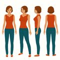 fashion woman isolated, front, back and side view Royalty Free Stock Photo
