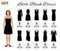 Fashion woman in little black dress. Set of cocktail dresses on a mannequins.