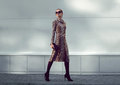 Fashion woman model wearing a leopard dress is walking Royalty Free Stock Photo