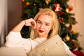 Fashion woman modern christmas woman emotions holiday makeup and bright party accessories Stock Images