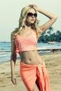 Fashion woman with pareo Royalty Free Stock Photo