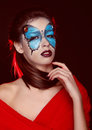Fashion woman Portrait. Butterfly makeup,  face art make up Royalty Free Stock Photography