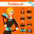 Fashion woman set of bag icons Royalty Free Stock Image