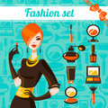 Fashion woman set of cosmetic icons Stock Photo