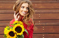 Fashion woman with sunflower Royalty Free Stock Photo