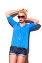 Fashion woman in sunglasses is leaning on the wall. Royalty Free Stock Photos
