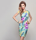 Fashion woman in Trendy Spring Summer Flower Dress