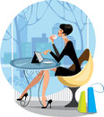 Fashion woman at the window in cafe colorful vector illustration of fashionable sitting table with tablet Stock Photos