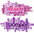 Fashion and woman word clouds illustration featuring cloud concept isolated on white background eps file available Royalty Free Stock Photography