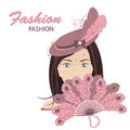 Fashion for women the fashionable young lady in a hat with feathers vector illustration on a white background Stock Image