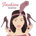 Fashion for women the fashionable young lady vector illustration on a white background Royalty Free Stock Images