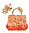 Fashion women makeup bag silhouette of a from water color roses Royalty Free Stock Image