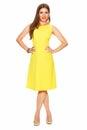Fashion Yellow Dress. Smiling ...