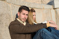 Fashion young couple in love toledo spain Stock Images