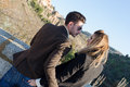 Fashion young couple in love toledo spain Royalty Free Stock Photo