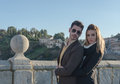 Fashion young couple in love toledo spain Royalty Free Stock Image
