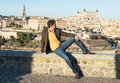 Fashion young man in toledo spain on a blue sky Stock Photography