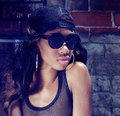 Fashionable african american model actress dancer portrait of wearing baseball hat cap and sunglasses Stock Images