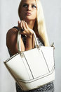Fashionable beautiful blond woman with handbag portrait of shopping trend Stock Photography