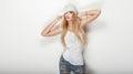 Fashionable blonde woman posing. Royalty Free Stock Photo