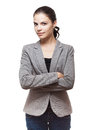 Fashionable brunette businesswoman portrait of a gorgeous young Stock Image