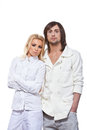 Fashionable couple on white background Royalty Free Stock Photography