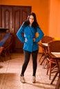 Fashionable elegant brunette in cafe Stock Images