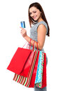 Fashionable female with shopping bags young woman holding and credit card Stock Images