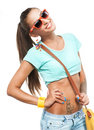 Fashionable girl happy young in sunglasses over on white Stock Images