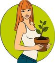 Fashionable girl with a plant in a pot Stock Images