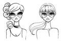 Fashionable girls drawn by hand vector illustration Royalty Free Stock Photos