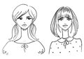 Fashionable girls drawn by hand vector illustration Royalty Free Stock Image