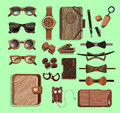 Fashionable Hipster Wooden Elements Set