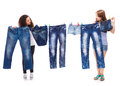 Fashionable jeans wear two teenage friends hanging up Stock Photography