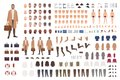 Fashionable man of middle ages constructor or DIY kit. Set of male cartoon character body parts, facial expressions
