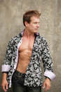 Fashionable man with shirt unbuttoned Royalty Free Stock Photos