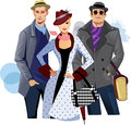 Fashionable men and woman in coat colorful illustration of people Stock Images