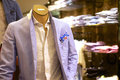 Fashionable mens suit on mannequin trendy shop with Royalty Free Stock Photo