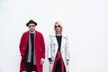 Fashionable people at Milan Men`s Fashion Week Royalty Free Stock Photo